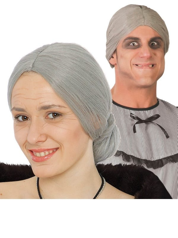 ADULT WOMENS GREY OLD LADY GRANNY WIG FANCY DRESS ACCESSORY