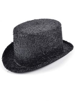 ADULT BLACK LUREX TOP HAT FANCY DRESS HALLOWEEN PARTY ACCESSORY
