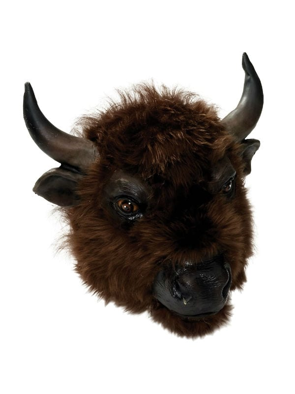 BUFFALO RUBBER MASK WITH FUR COW BULL ANIMAL PARTY PLAY FANCY DRESS ACCESSORY