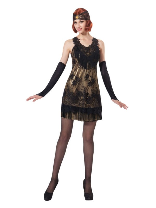 FLAPPER DRESS BLACK LACE 1920'S LADIES FANCY DRESS COSTUME
