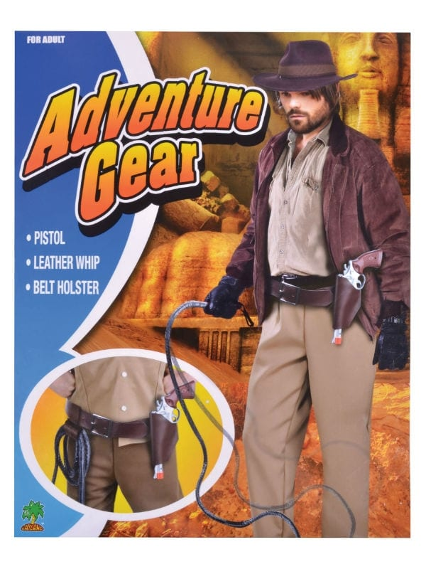 ADVENTURE GEAR HOLSTER & BELT SET PISTOL WHIP FANCY DRESS COSTUME PARTY ACCESSORY