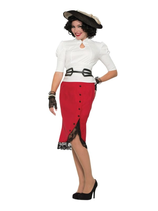 RED PENCIL SKIRT 1940S FANCY DRESS PARTY FEMALE