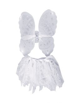 CHILD ANGEL WINGS & TUTU SET FANCY DRESS CHRISTMAS ACCESSORY