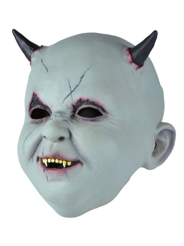 BABY DEVIL OVERHEAD MASK LATEX SCARY EVIL FANCY DRESS PARTY