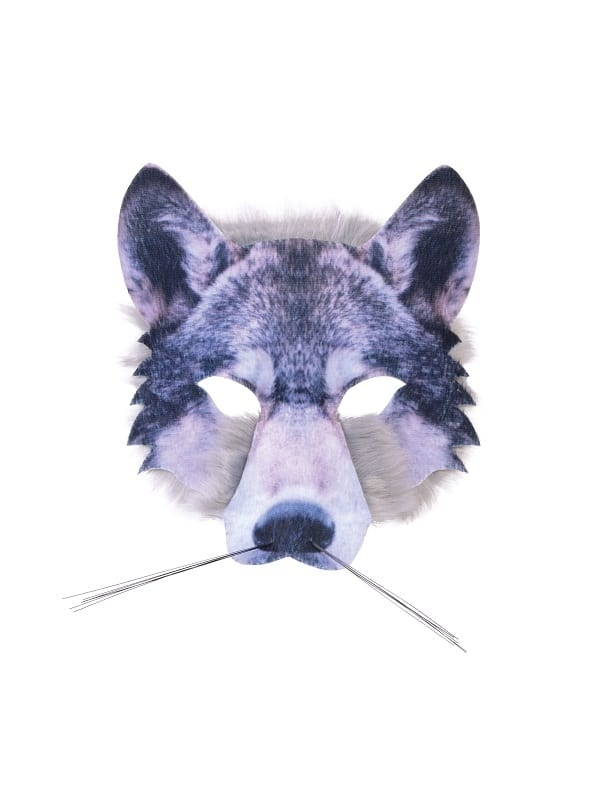 Wolf Face Mask Realistic Fur Fancy Dress Accessorie