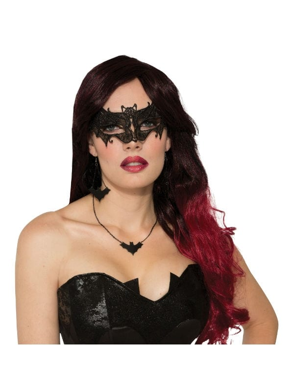 BAT EYE MASK LACE HALLOWEEN PARTY ACCESSORY FOR FANCY DRESS