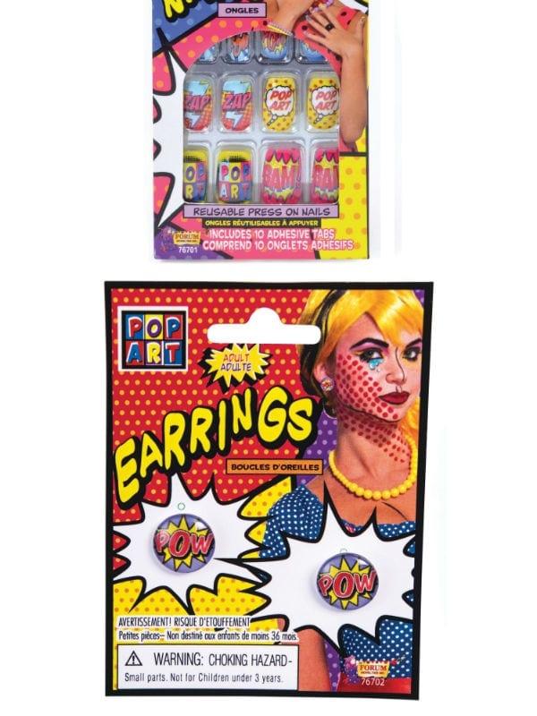 POP ART NAILS OR 'POW' EARRINGS FANCY DRESS ACCESSORY